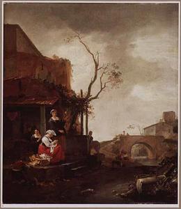 Zuidelijk landschap met vrouwen en een jongen bezig met huishoudelijke bezigheden op de stoep van een huis