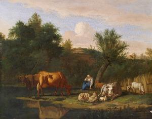 Rustende herderin met haar dieren bij een beek