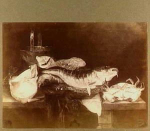 Visstilleven met kabeljauw, rog en krab