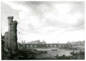 Gezicht op de Seine in Parijs, met de Pont Neuf, het Ile de la Cité met links de Tour de Nesle