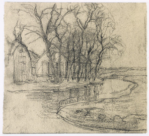 Farm at Duivendrecht: detail study of right half of composition