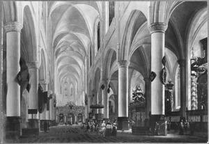 Interieur van een kerk met een doopprocessie