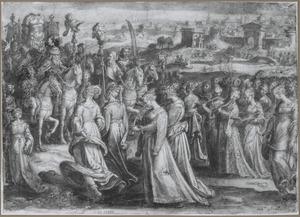 De triomf van David, met dansende en zingende vrouwen
