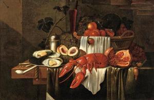 Stilleven met oesters, vruchten en een kreeft