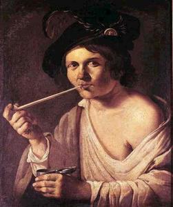 Pijp rokende jongeman