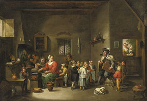 Interieur met kinderen, draailierspeler en een vrouw die pannenkoeken bakt