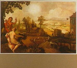Allegorie van de zomer: Ceres en Apollo voor een weids rivierlandschap met oogstende boeren