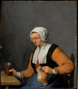 Vrouw met een bierpul