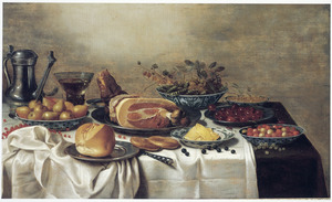 Stilleven van etenswaren op een tafel