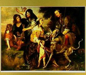 Portret van een echtpaar in pastorale kleding (Venus en Adonis?)