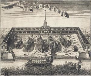 Uitzicht op de admiraliteitsscheepswerf in Sint Petersburg
