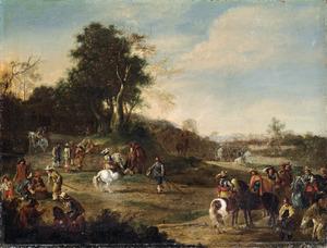 Cavaleristen in een glooiend landschap