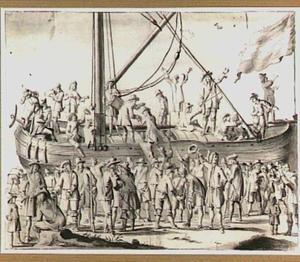 Het inschepen van soldaten op een binnenvaartschip
