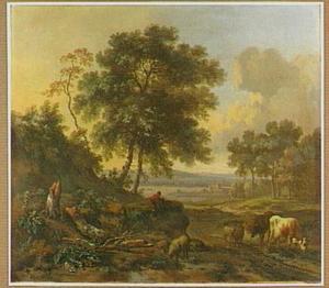 Landschap met vee bij een doorwaadbare plaats