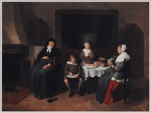 Interieur met een familie aan de maaltijd
