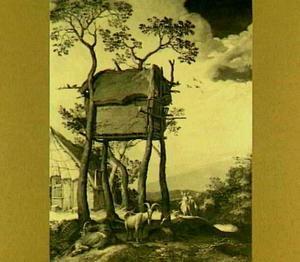 Tobias en de engel in een landschap met boerenhoeve, duiventil en geitenherder