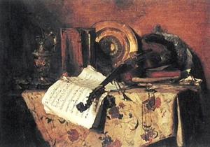 Stilleven met een viool en bladmuziek