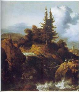 Berglandschap met dennenbomen en een waterval