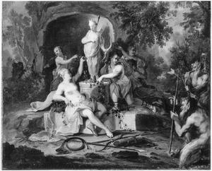 De verering van een beeld van de godin Diana