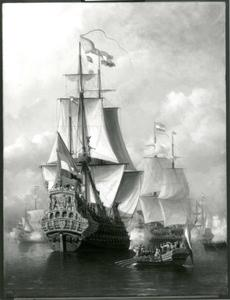 Inscheping van Michiel de Ruyter, aan boord van De Zeven Provinciën, voor de tocht naar Chatham