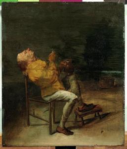 Interieur met een rokende man