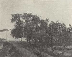 Bomenrij met ophaalbrug