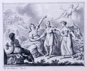 Hercules op de tweesprong kiest tussen deugd en ondeugd