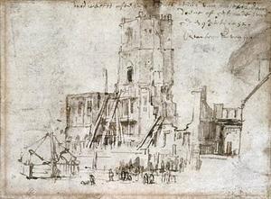 Het oude stadhuis in Amsterdam na de brand