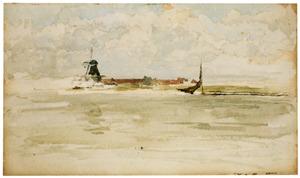 Gezicht op Dordrecht vanaf het water