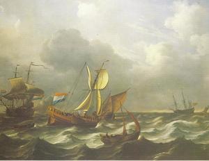 Schepen op onrustig water; links lost een schip een kanonschot