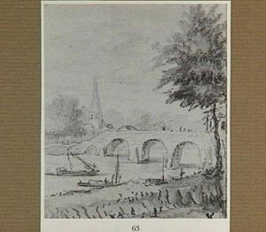 Rivierlandschap met brug en kerk