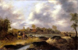 Duinlandschap met boeren, een bleekveld verderop