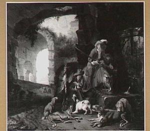 Landschap met jagers en honden bij een drinkbak in een ruïne