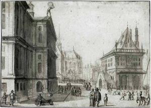 Blik op de Dam in Amsterdam met het Koninklijk Paleis, de Waag en de Nieuwe Kerk