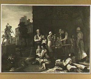 Romeins straattafereel met jonge kunstenaar voor de groep van Bernini's beeld van Neptunus en Glaucus
