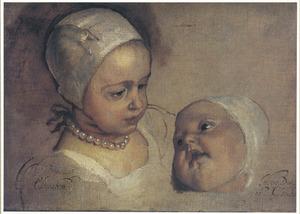 Studieportret van prinses Elizabeth (1635-1650) en prinses Henrietta Anne (1644-1670), twee dochters van Karel  I Stuart (1600-1649)