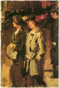 Twee dames wandelend over straat