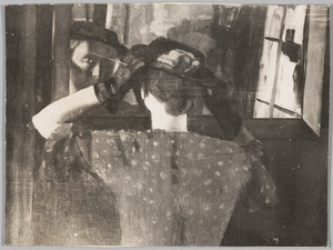 Vrouw voor een spiegel