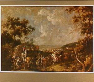 Landschap met ruitergevecht (uit de klassieke geschiedenis?)