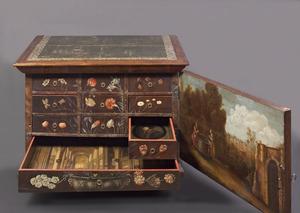 """Beschilderd kistje, het zgn. Luthers kastje of """"Ketterskastje"""""""