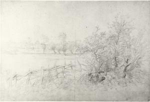 Studie van een landschap met acaciaomheining
