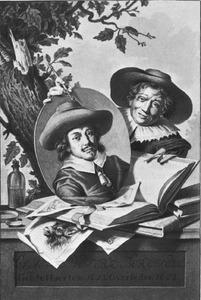 Man met het portret van Nicolaes Pietersz. Berchem (....-1683)