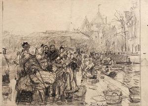 Vismarkt bij de Nieuwmarkt te Amsterdam
