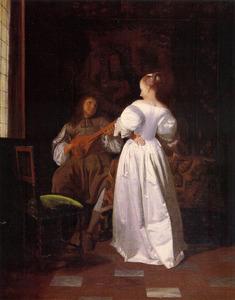 Cisterspeler en een jonge vrouw in een interieur