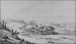 Vallei van de Tiber, rechts de Ponte Molle (Milvio)