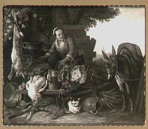 Boerenerf met meid en ezel