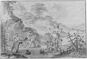 Latona verandert de boeren van Lycië in kikkers (Metamorfosen 6:317-381