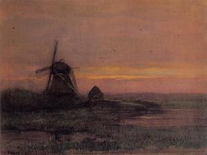 Oostzijdse mill with streaked reddish sky