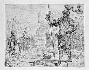 David daagt Goliat uit (1 Samuël 17:40-47)