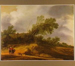 Landschap met boerderij tijdens een storm